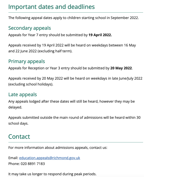 Secondary Admissions Appeals link